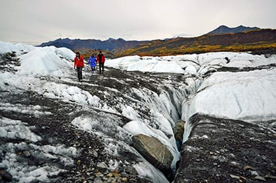 The Matanuska is an active glacier which advances at one foot per day.