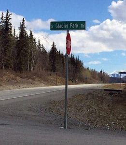 Glacier Park Rd at Mile 102  on Glenn Highway leads to Matanuska Glacier