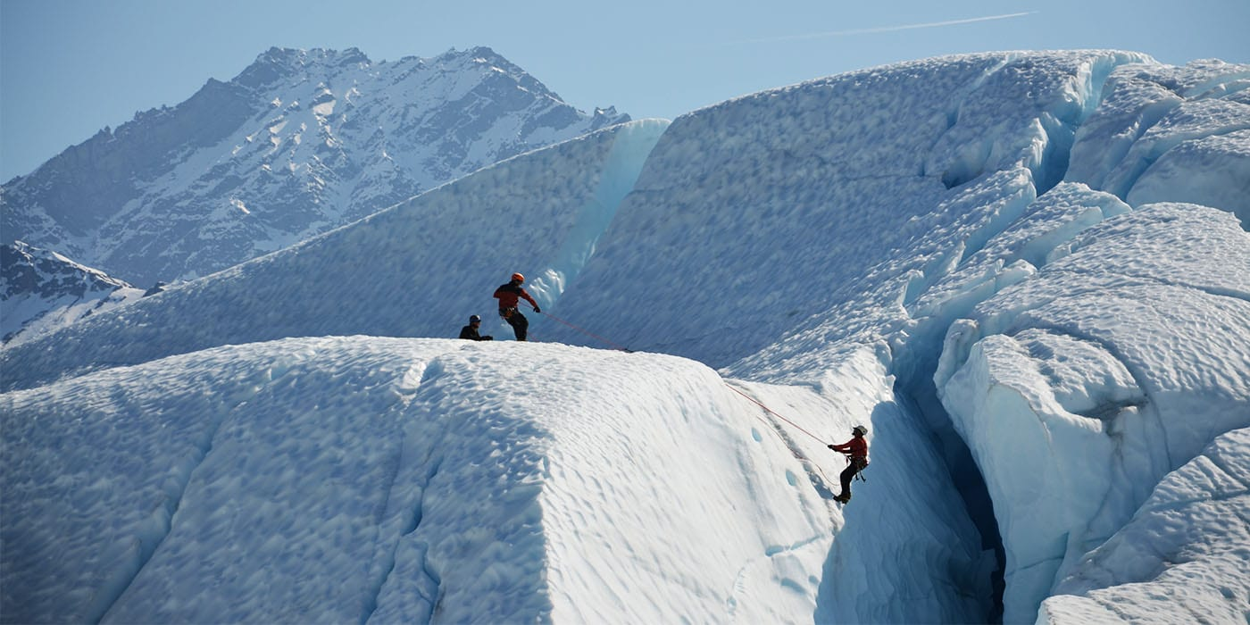 Our Matanuska Glacier guided tours can be customized to any skill level.