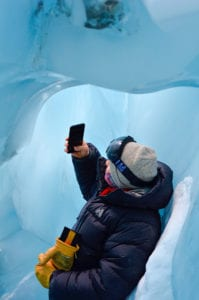 Stand inside the Blue Ice Caves