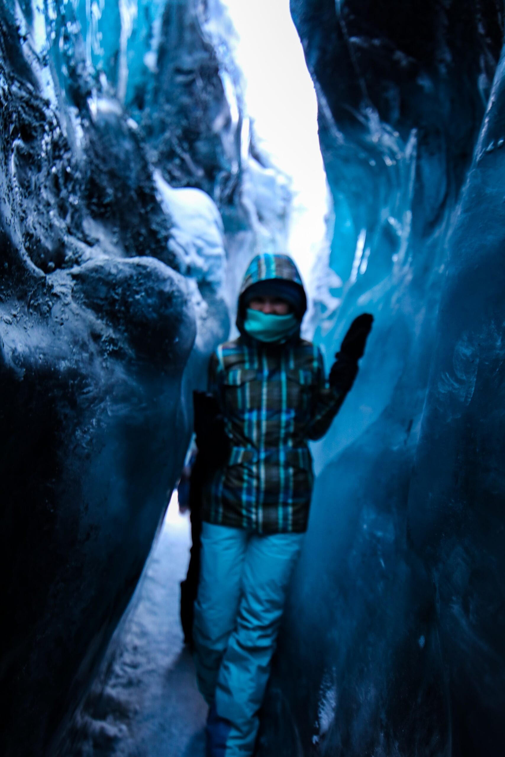 Walk inside of caves and open crevasses
